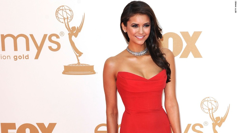 """The Vampire Diaries"" Nina Dobrev is another actress who stunned in red at the 2011 Emmy Awards."