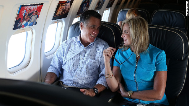 Mitt Romney and his wife Ann Romney on his campaign plane en route to their New Hampshire vacation home early this month.