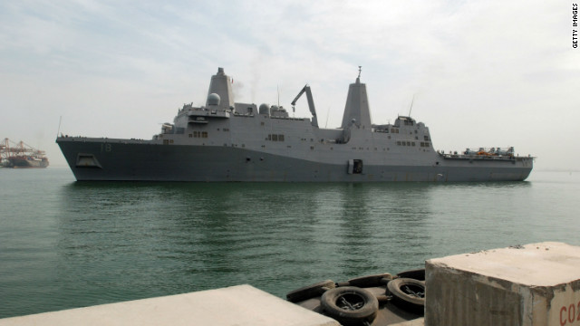 The USS New Orleans pulls into Mina Salman pier, Bahrain, on March 21, 2009.