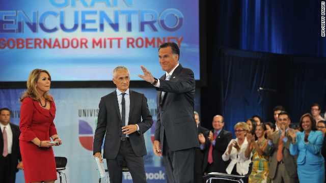 Mitt Romney, right, appears on Univision with moderators Maria Elena Salinas and Jorge Ramos in Miami last week.