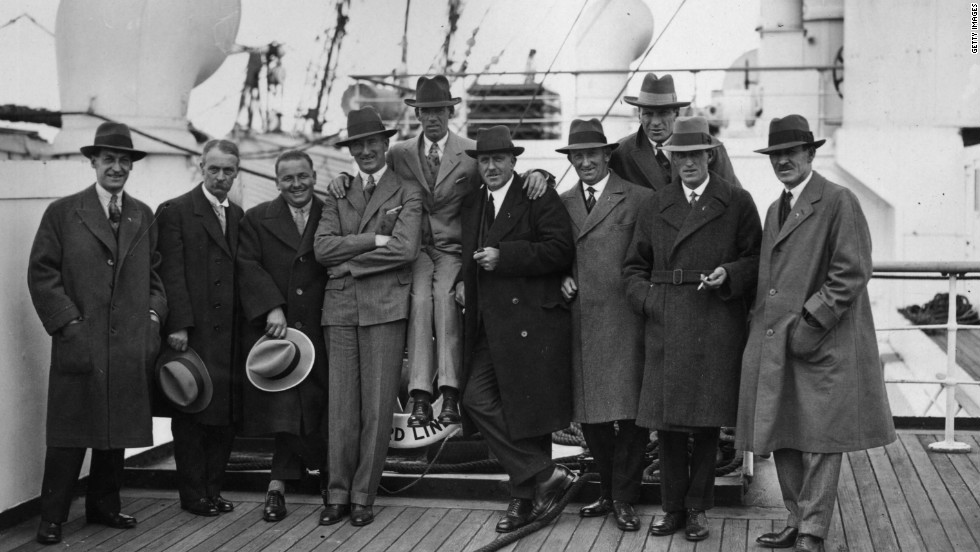 In the beginning. The Great Britain and Ireland team on its way to the inaugural match in 1927 in Boston, Massachusetts, where the United States were deserving winners.