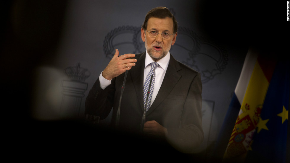 "Spain's Prime Minister Mariano Rajoy gives a press conference on September 11, 2012. The conference followed Finnish Prime Minister Jyrki Katainen backing Spain and calling the crisis ""unfair."""