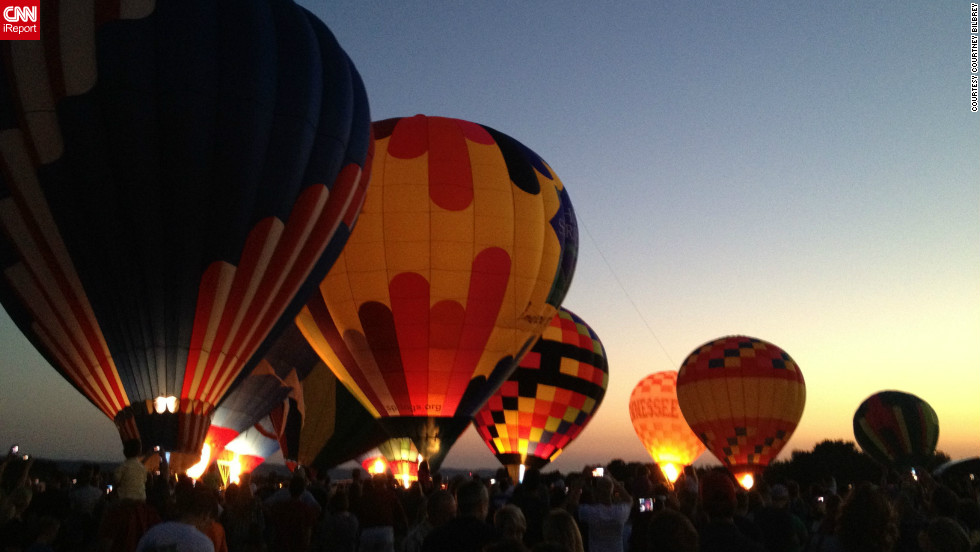 """Once the sun began to set, I knew the amazing glow of the balloons would be a great pic,"" said Courtney Bilbrey, <a href=""http://ireport.cnn.com/docs/DOC-847411"">who shot this photo</a> with her iPhone 4S at the Hot Air Balloon Festival in Hot Springs, Arkansas."