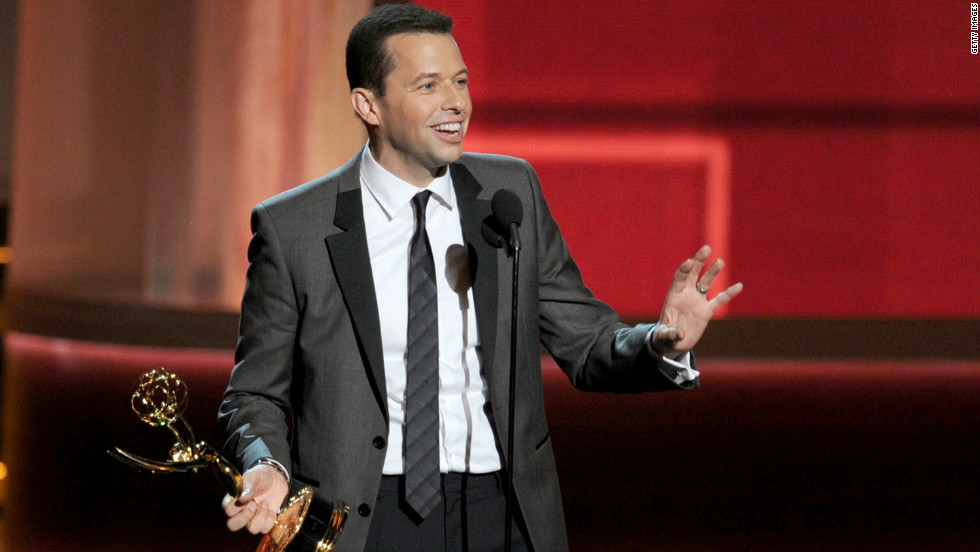 """Jon Cryer accepts the best lead actor award in a comedy series for """"Two and a Half Men."""""""