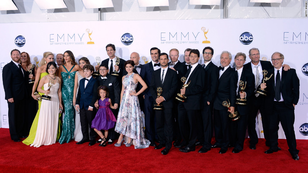 "ABC's  ""Modern Family"" wins best comedy series for the third consecutive year. Eric Stonestreet and Julie Bowen also won Emmys for best supporting actor and actress in a comedy, and Steve Levitan won best comedy direction."