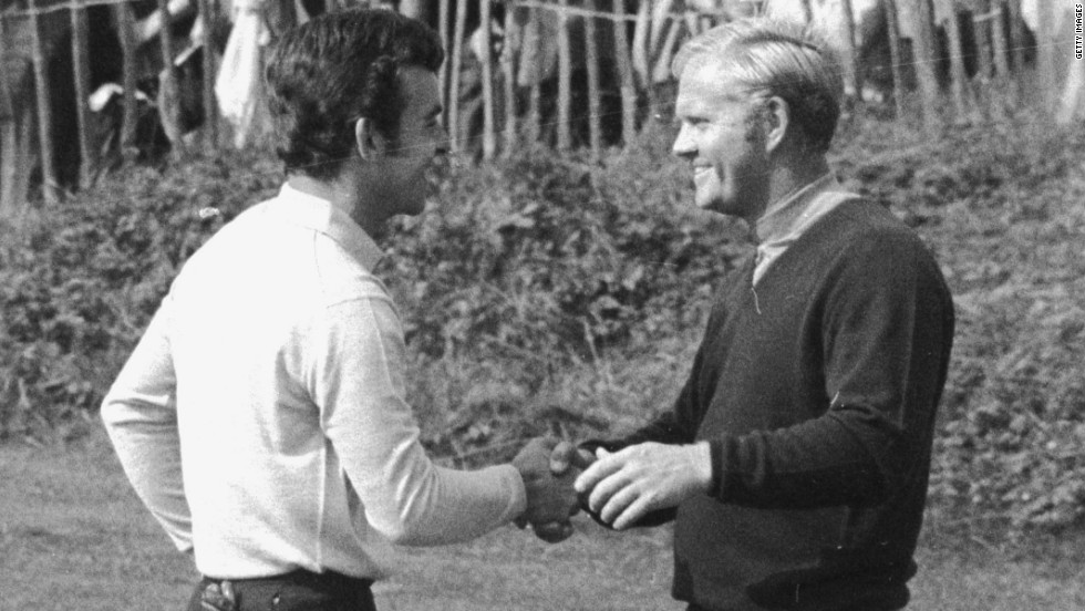 Tony Jacklin and Jack Nicklaus shake hands at the end of their famous tied singles match at Royal Birkdale in 1969 -- leaving the overall match tied at 16-16 in a gripping encounter. Nicklaus conceded a tricky putt for Jacklin on the last green in a famous act of sportmanship.