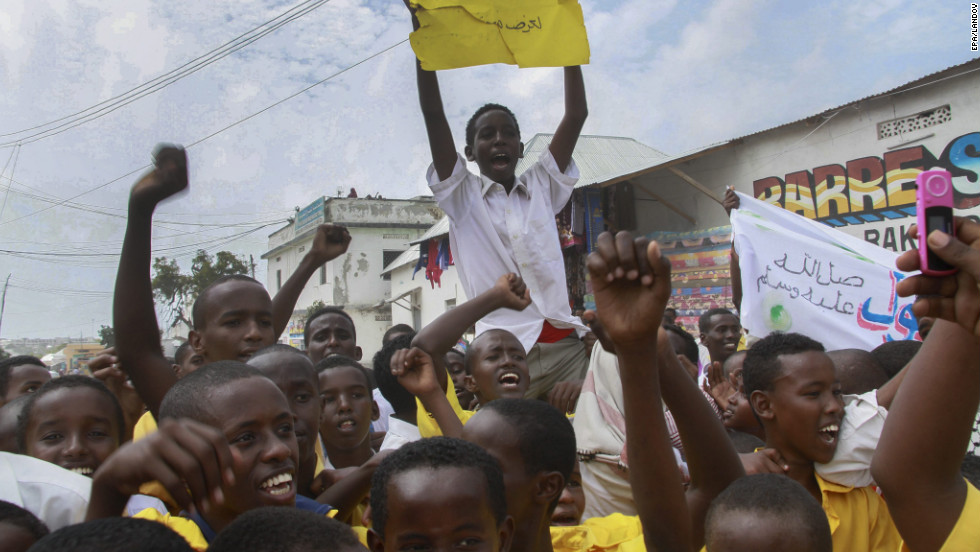 Muslim students protest in Mogadishu, Somalia, on Monday.