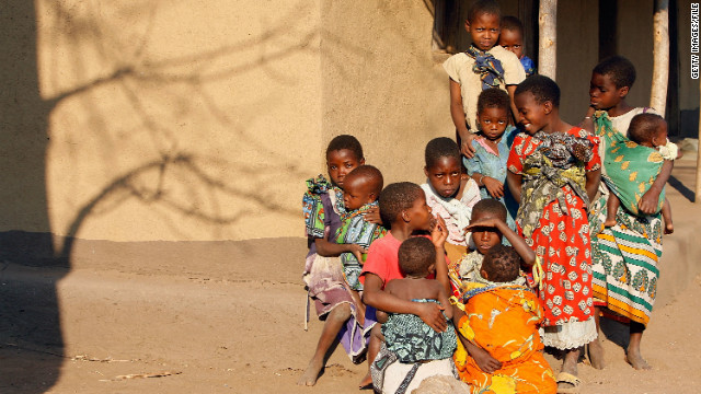 Girls from the village of Nanthomba in Malawi gather for a portrait.