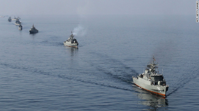 Iranian Navy boats take part in exercises in the Strait of Hormuz, southern Iran on January 3, 2012.