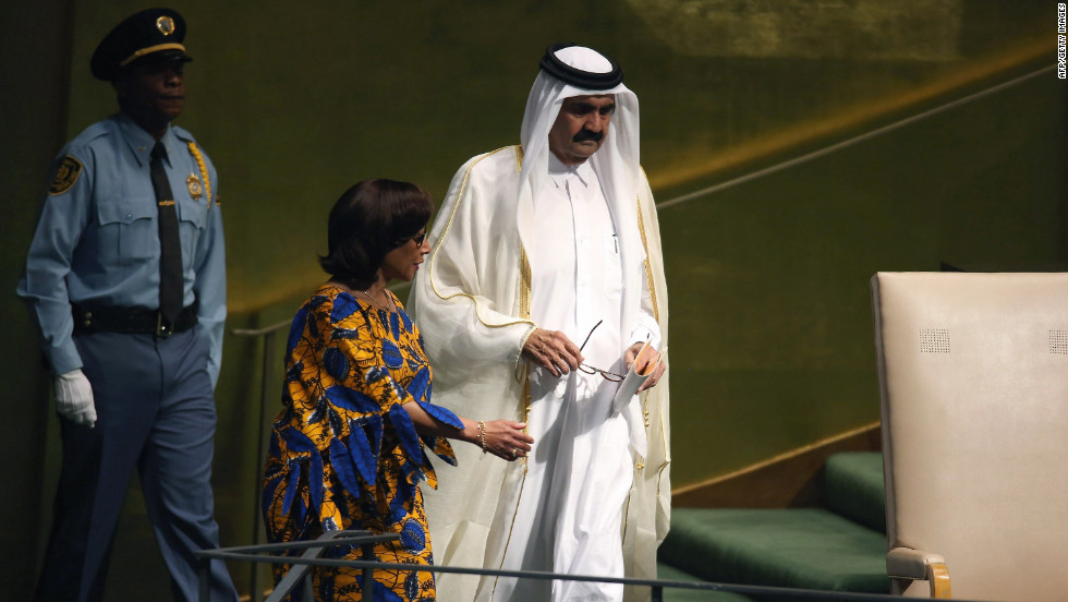 Sheikh Hamad bin Khalifa Al Thani, emir of Qatar, arrives to address the U.N. General Assembly on Tuesday.