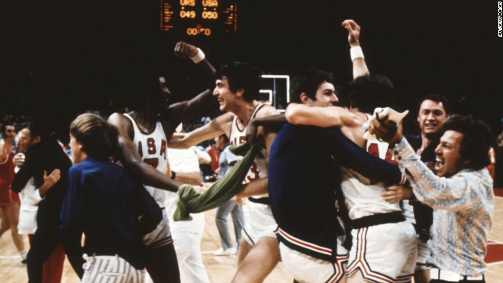In the 1972 Olympics, officials reset the clock three times in the final moments to allow the USSR to prevail in the gold-medal basketball game against the undefeated U.S. team. Before the clock was reset, the U.S. team mistakenly celebrated what they thought was a win.