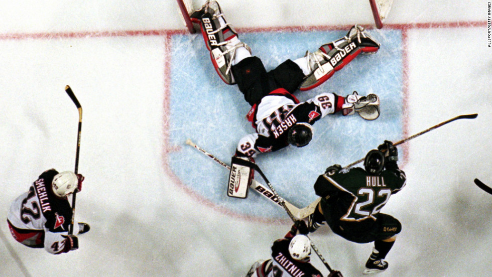 In 1999, the Dallas Stars' Brett Hull scored in triple overtime with a skate in the crease -- which at the time was illegal -- and the Stars went on to win the Stanley Cup over the Buffalo Sabres.