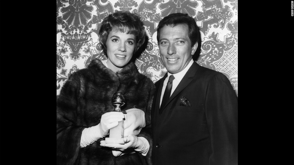 British singer and actress Julie Andrews with Williams at the 1970 Golden Globes.