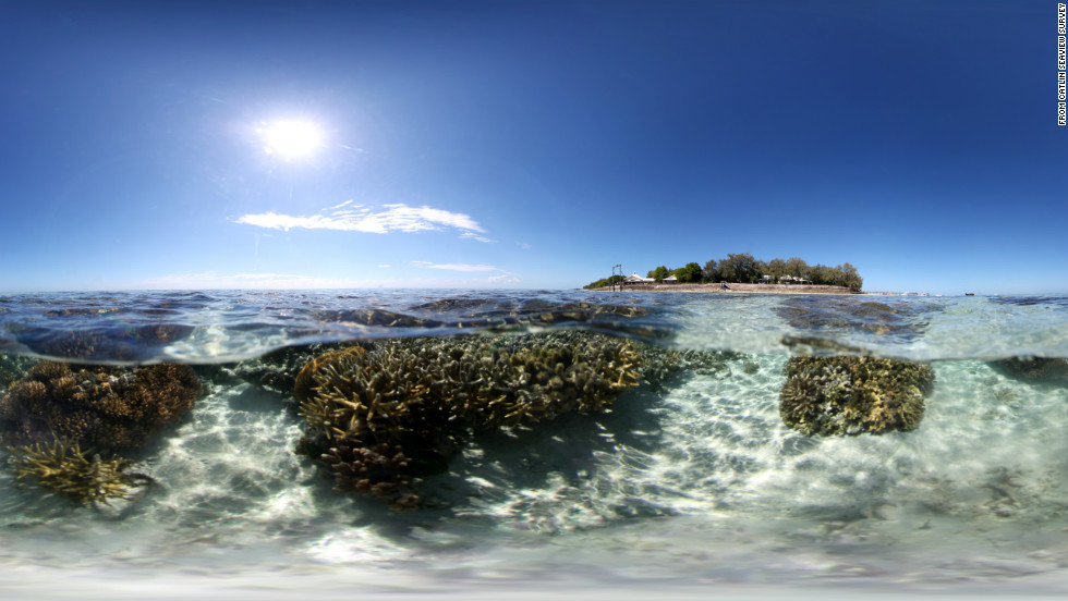 Reefs near tiny Heron Island. The Great Barrier Reef is composed of over more than 2,900 individual reefs and 900 islands.