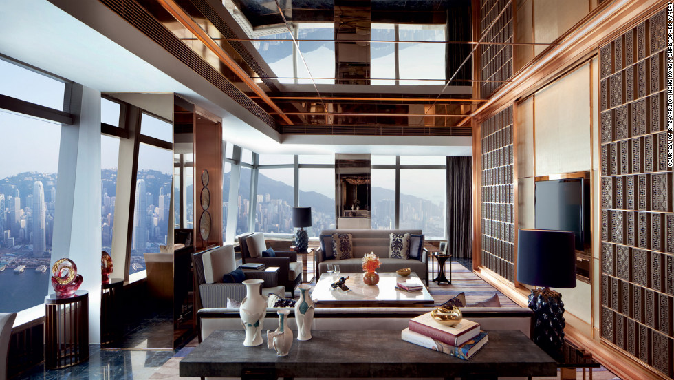 This 4,460-square-foot escape has all the necessities (butler service, access to the hotel's Club Lounge, Acqua di Parma bath amenities), but its location on the 117th floor of the Ritz-Carlton, with spectacular views of Victoria Harbour and the island of Hong Kong—really seal the deal. From $15,472; International Commerce Centre, 1 Austin Rd. W., Kowloon; 852-2263-2263; ritzcarlton.com.