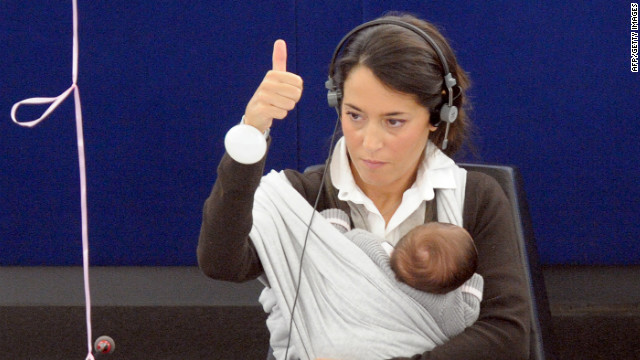 European Parliament member Licia Ronzulli votes in October 2010 to support raising maternity leave from 14 to 20 weeks while giving fathers two weeks to spend time with their newborn. America has no federal maternity or paternity leave policy.