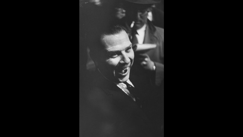 Hoffa holds a Teamsters rally at Madison Square Garden in New York in 1960.