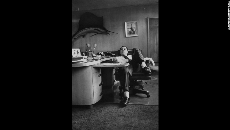 Hoffa slumps in a chair at the Teamsters union office. He was one of the most powerful union leaders in America until being forced out of the organized labor movement. He went to prison in 1967 for jury tampering and fraud before being pardoned four years later.