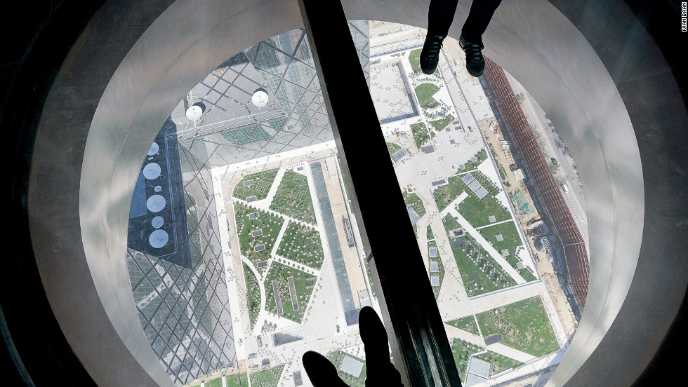 "A view from a portal reveals the tower's height, although Koolhaas says his skyscraper is ""a big building which, rather than consume a space, creates a space""."