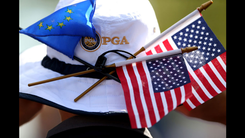 Patriotism is on display across the course Wednesday.