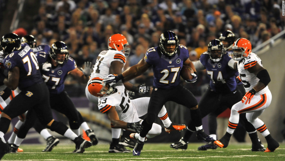 Ray Rice of the Baltimore Ravens runs the ball against the Cleveland Browns on Thursday.