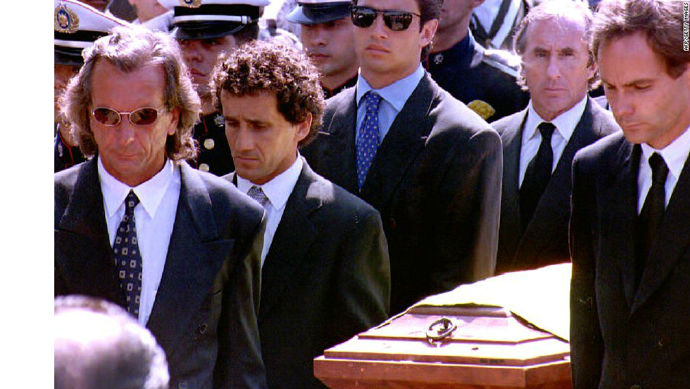 Prost joined a pantheon of Formula One greats at Senna's funeral in Sao Paulo in 1994.
