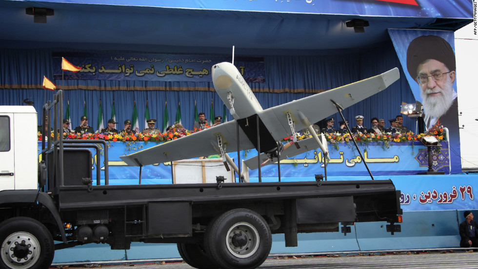 An Iranian-made drone is displayed during the Army Day celebrations in Tehran on April 18, 2010.