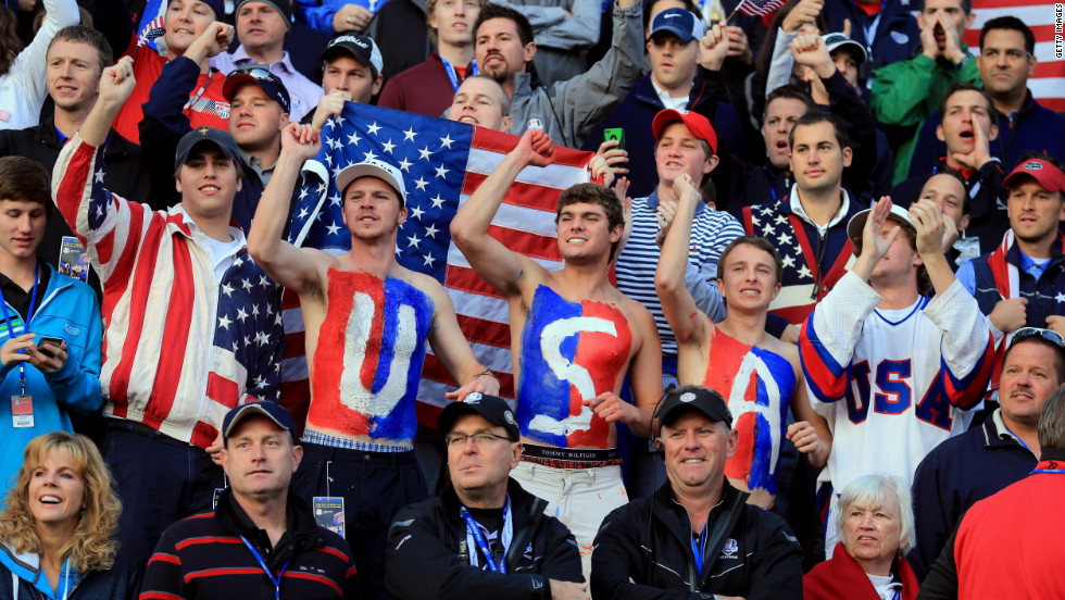 USA fans cheer on the first tee on Saturday.