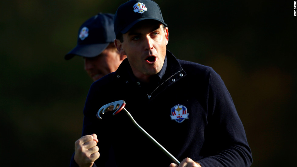 Keegan Bradley of the USA reacts after putting on the fifth green on Saturday.