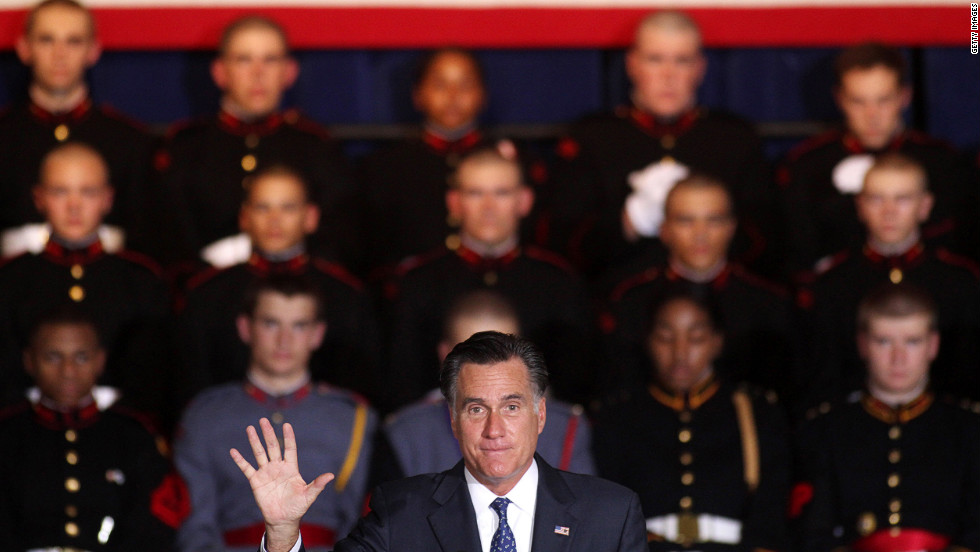 Romney speaks during a rally at Valley Forge Military Academy and College in Pennsylvania on Friday.
