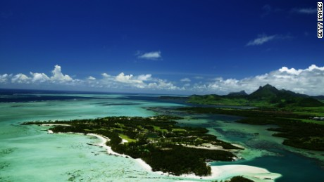 An aerial view of the Bernhard Langer designed 'One&Only Le Touessrok Golf Course' on the Ile Aux Cerfs Island at the One and Only Le Touessrok Resort, on January 19, 2004, Mauritius.