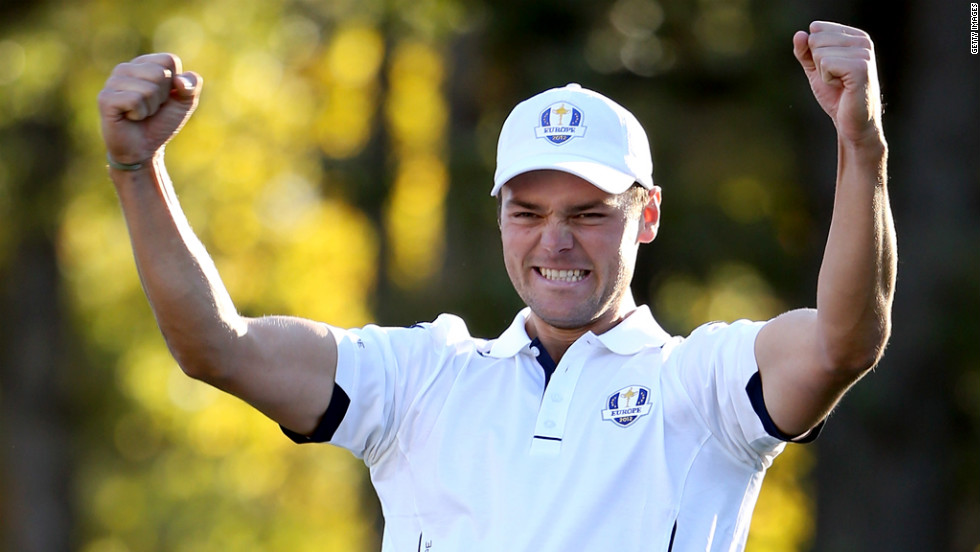 Martin Kaymer of Europe celebrates making the decisive putt.