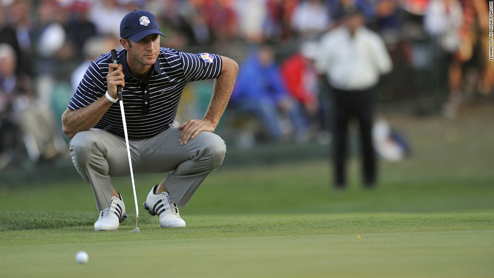 Dustin Johnson of Team USA contemplates his next play on Saturday.