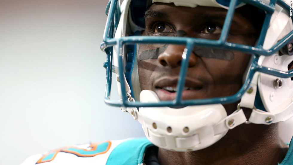 Miami Dolphins running back Reggie Bush watches from the sidelines on Sunday.