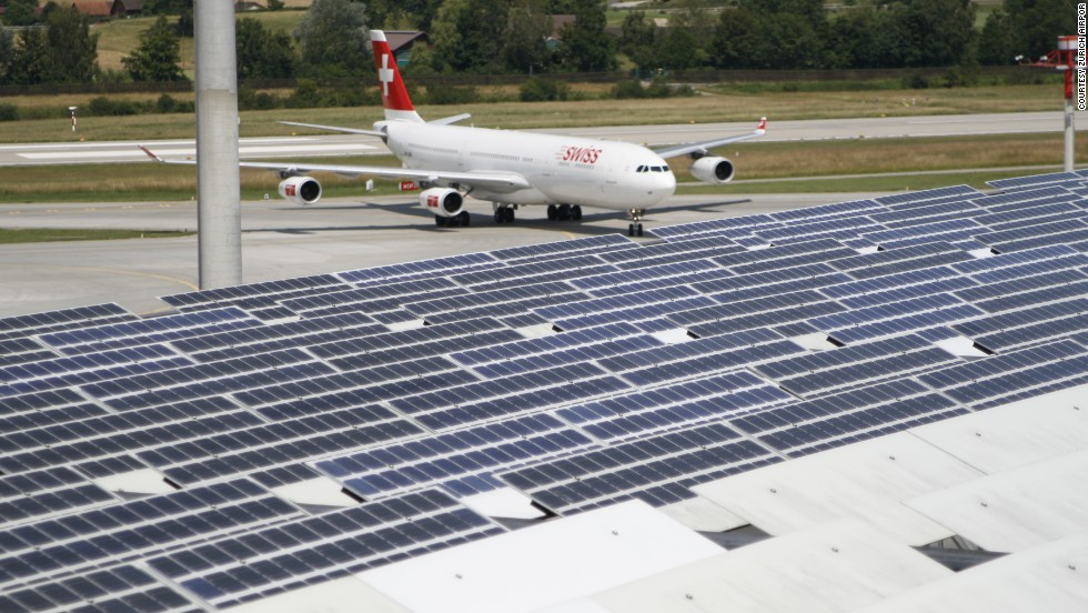 Pier E of Zurich Airport in Switzerland is covered by photovoltaic cells enabling part of the terminal building to generate part of its energy requirements.