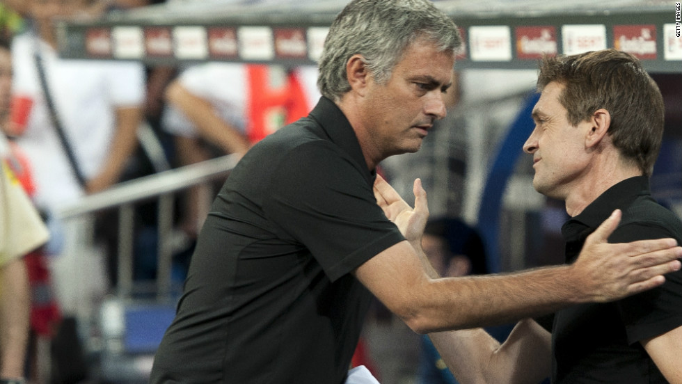 Mourinho and Vilanova have made up since that infamous incident where the Portuguese poked the Barca man in the eye during an El Clasico encounter last season. Vilanova, who has now taken over the manager's job from Pep Guardiola, will go head to head with Mourinho once again on Sunday.