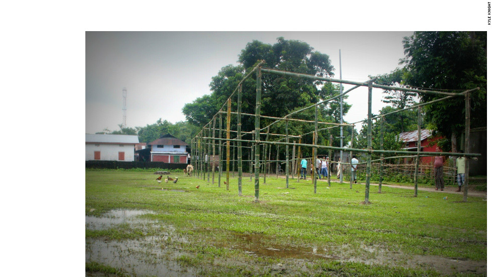 Unsure when residents will be able to return home, some schools have improvised alternative structures so classes can resume. This bamboo frame will become a primary school for hundreds of students when the seasonal rains stop and the ground dries enough that children can sit on it.