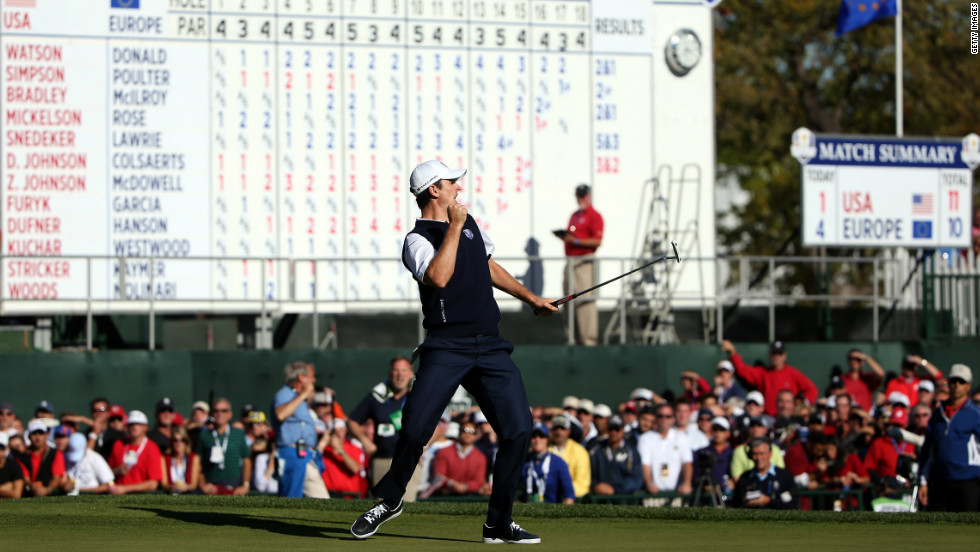 Justin Rose punches the air as he caps an unlikely comeback of his own, defeating Phil Mickelson on the 18th green after being one down with two to play. The American described his loss as one of the turning points of the 2012 Ryder Cup.
