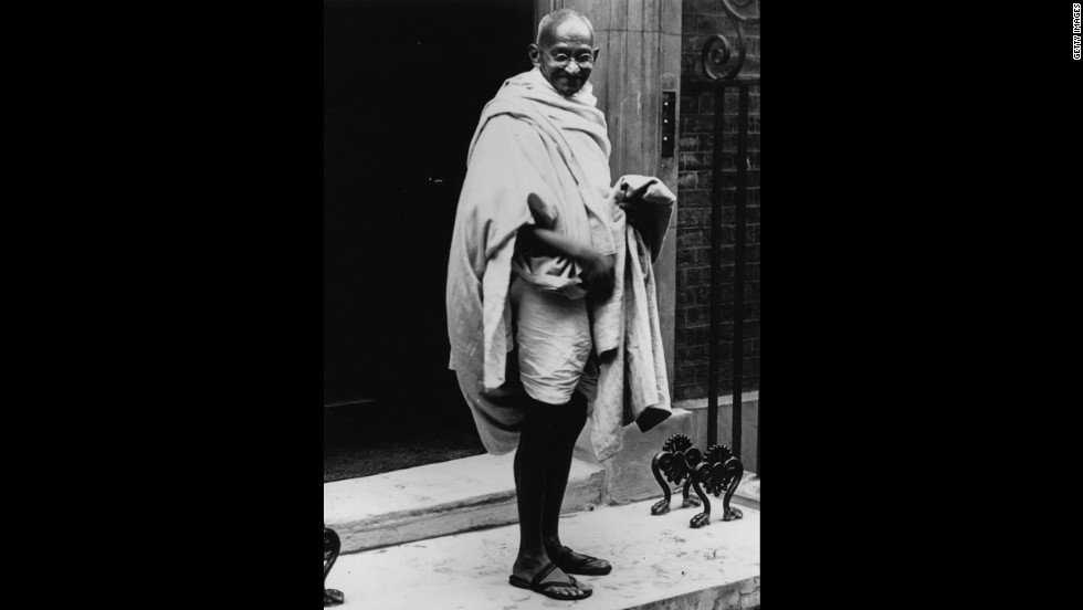 Mahatma Gandhi (1869 - 1948) is seen in London in 1931.