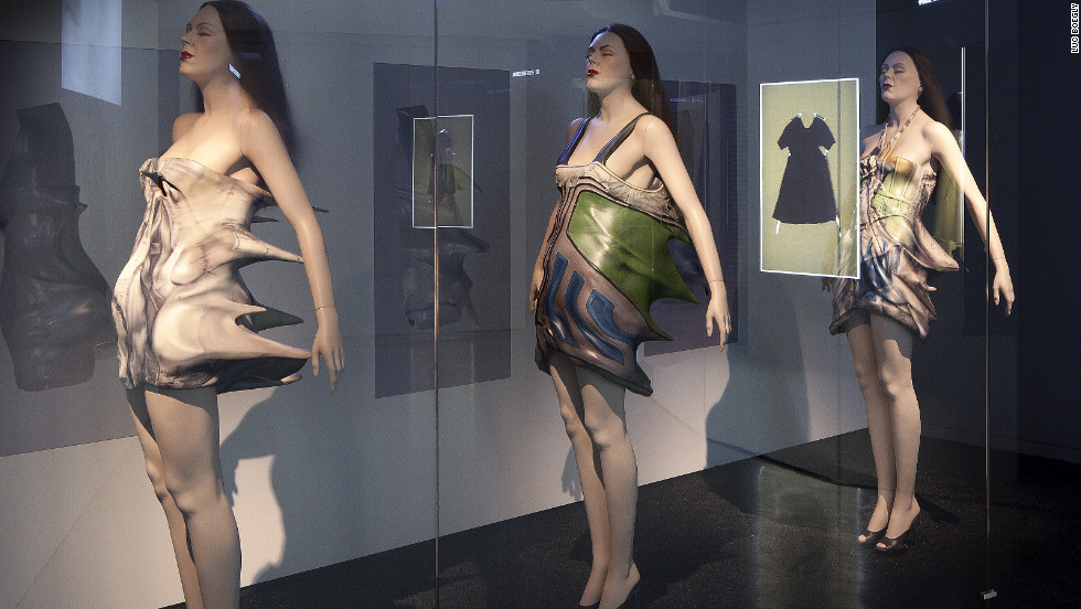 "These experimental designs from Cyprus-born, British-trained designer Hussein Chalayan were featured in 2011's ""Fashion Narratives"" solo exhibition."