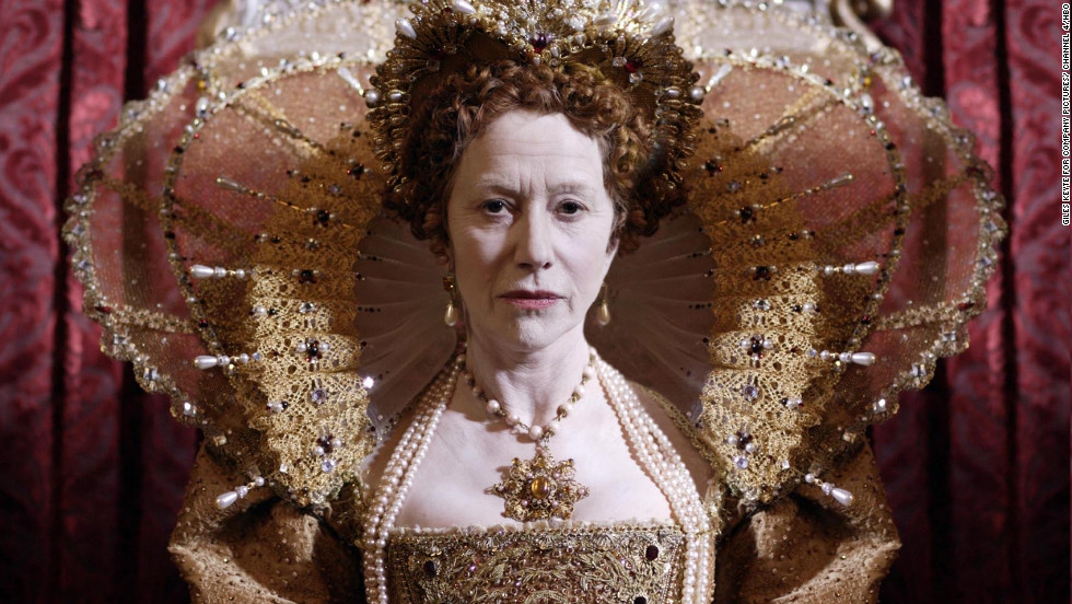 "This costumed image of Academy Award-winning actress Helen Mirrenas Queen Elizabeth I is on display as part of the Fashion Museum's recent exhibition, ""Jubilee: Dressing the Monarchy on Stage and Screen."""