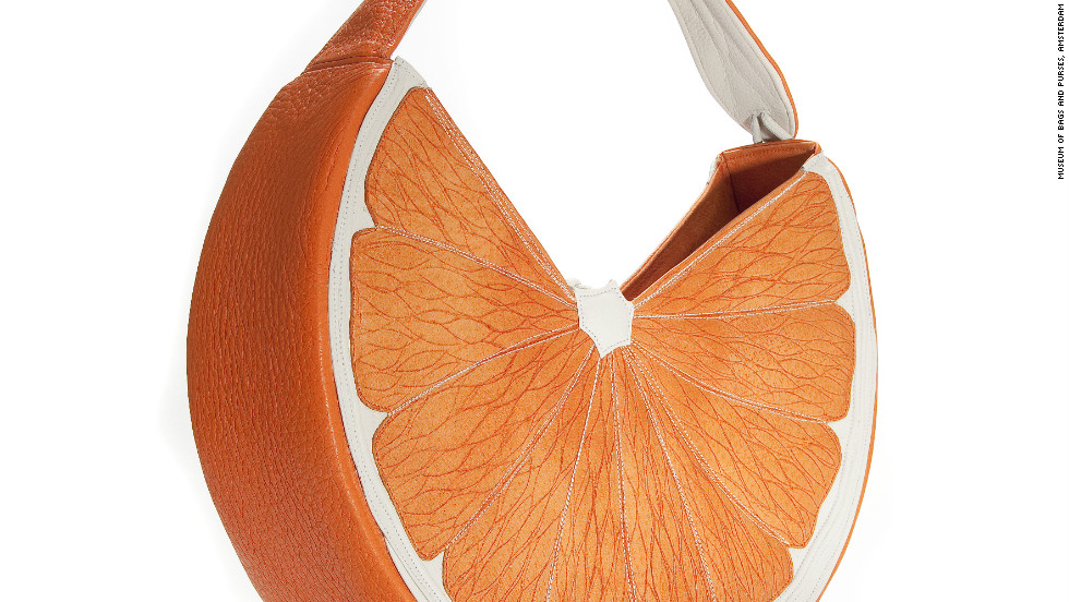 One of the 4,000 items in the museum's collection is this whimsically shaped and designed bag called Orange by Sylvia Moschard.