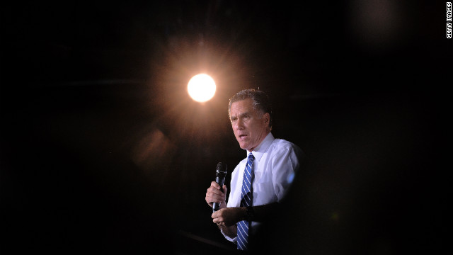 Mitt Romney speaks during a campaign rally Monday at the Wings Over the Rockies Air and Space Museum in Denver.