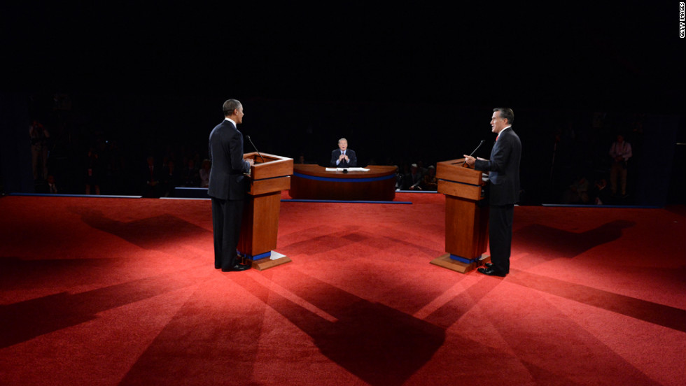 Jim Leher of PBS moderates the 90-minute debate on Wednesday. It was the candidates' first time debating face to face.