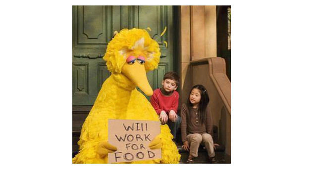 Big Bird is worried.