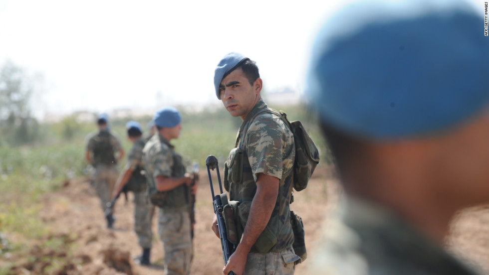 Turkish soldiers patrol in Akcakale. Western powers condemned the Syrian strike, with the U.S. saying it was outraged and France warning it threatened global security.