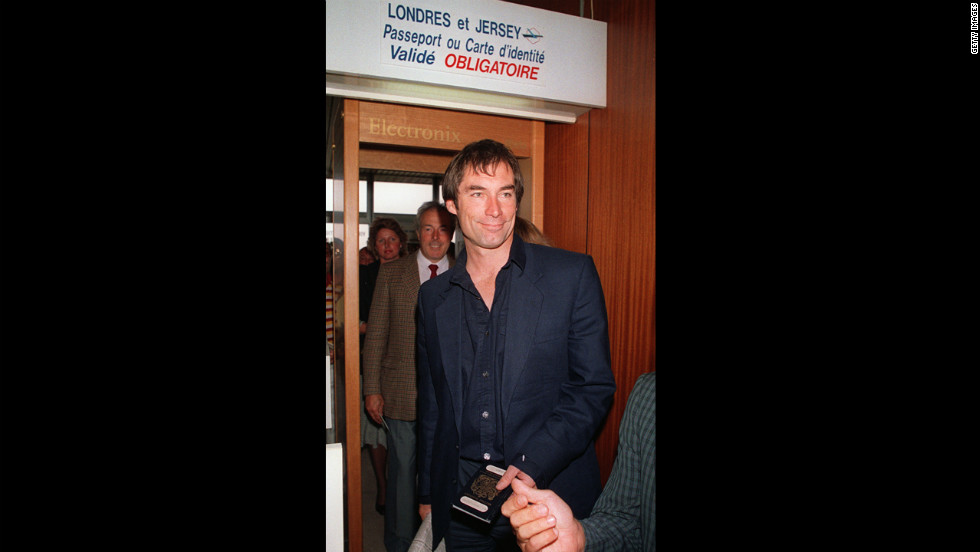 "Director Timothy Dalton arrives at the Deauville airport in France to promote ""The Living Daylights"" in September 1987."