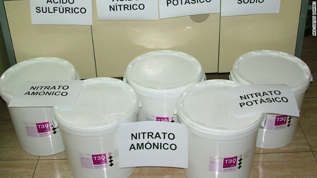 Spanish police seized more than 300 pounds, or 140 kilograms, of explosive materials when they arrested the suspect.