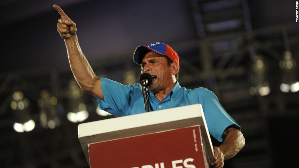 Capriles delivers a speech during a campaign rally Wednesday in Maracaibo.