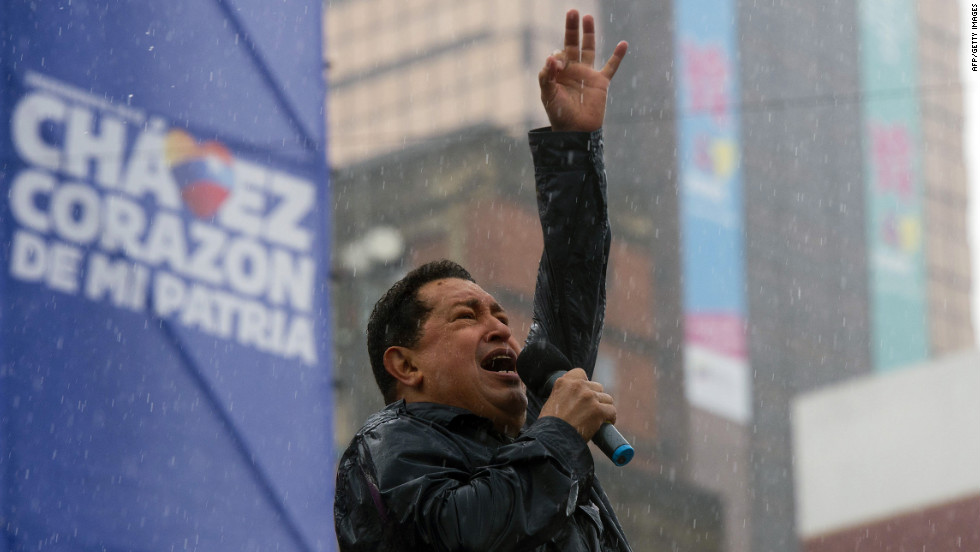 Chavez delivers a speeech in the rain during his on Thursday. Venezuelans head to the polls on Sunday, October 7.